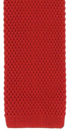 Michelsons of London Soie rouge tricoté maigre cravate de
