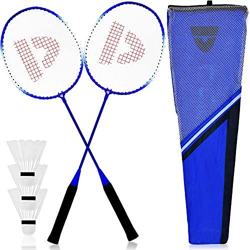XXL Federball & Badminton Set | Federballschläger in gemischten Farben inkl. Federbälle & Schläger-Tasche im Set | Federballspiel für Erwachsene & Kinder ideal für Freizeit & Outdoor Spiele