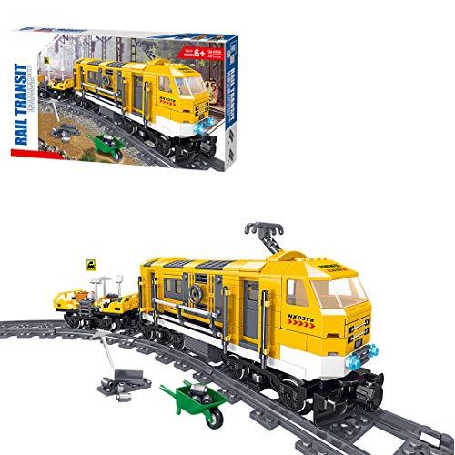 Fujinfeng Treno Merci, 431 Pezzi City Treno Merci Express Costruzioni - Treno di Riparazione e Montaggio di Binari Ferroviari, Compatibile con Lego