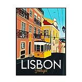 IUYTRF Cuadro de lienzo de viaje de Lisboa, póster artístico de pared, imagen minimalista moderna para dormitorio, decoración de sala de estar, 50X70 cm sin marco
