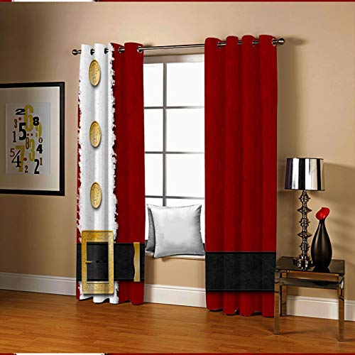 Amody 3D Curtains for Living Room Window Santa Claus Belt Home Curtains Red White Black Window Treatments Curtains Sets 264x160CM