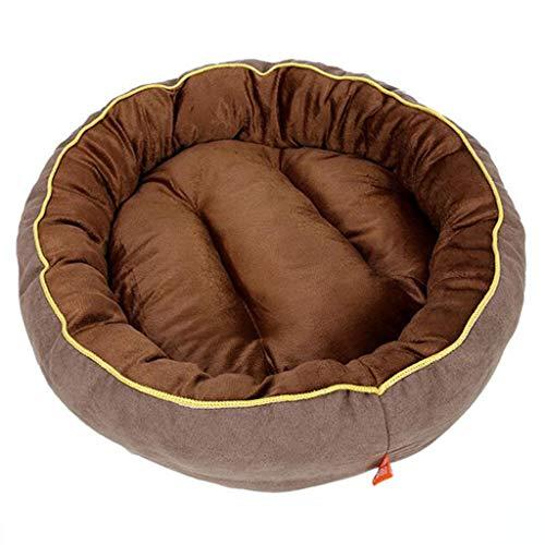 BEAAE-net hond kennel kat bed bank kussen lederen fleece bestendig en bijtbestendig ronde kleine en middelgrote hond huisdier mat