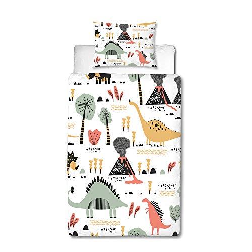 MUSOLEI Juego de ropa de cama individual y funda de almohada para niña, color amarillo, diseño de dinosaurios, color verde, bonitos dibujos animados, volcán, árbol, suave cremallera (135 x 200 cm, 05)