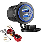 Dual USB Charger Socket, 2.4A & 2.4A Waterproof 12V/24V Dual USB Fast Charger Socket Power Outlet with Touch Switch for Car Marine, Boat, Golf Cart, Motorcycle, Truck and More(4.8A-Blue)