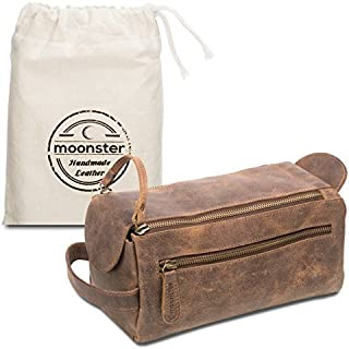 Leather Toiletry Bag For Men - Stylish, Practical and Thicker Than Other Bags - This Handmade Vintage Mens Dopp Kit is Small, Sturdy and Water Resistant - Store All Your Travel Toiletries in Style
