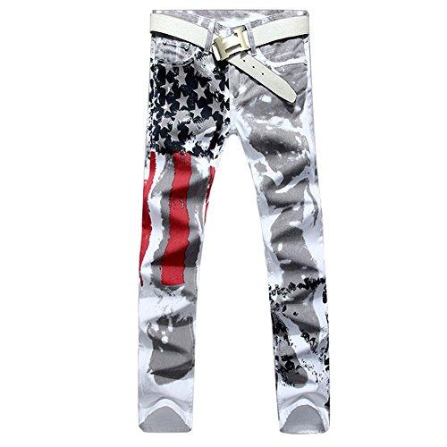 Longe Men Casual American USA Flag Printed Washed Jeans Pants Mens Graffiti Print White Hip-hop Fashion Jean Slim Fit Trousers (38, White)