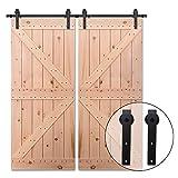 182CM/6FT Puerta de granero corredera estilo rústico puerta de granero corredera de madera para armario puerta granero herraje colgadocon guía rodamientos deslizantes, para puerta doble