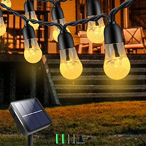 XJFCMMT Garden Lights Solar, 30 LED Solar String Lights Outdoor Waterproof, 8 Modes Crystal Ball Fairy Lights Solar Powered, Solar Garden Light Bulbs for Patio, Camping, Wedding, Xmas (Warm White)