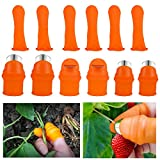 ANPHSIN 6 Sets Garden Silicone Thumb Knife Tools- Separator Finger Knife Havesting Plant Picking Knife Gardening Gifts Plucking Thumb Finger Cutter for Trimming Garden Plants Strawberry Vegetables