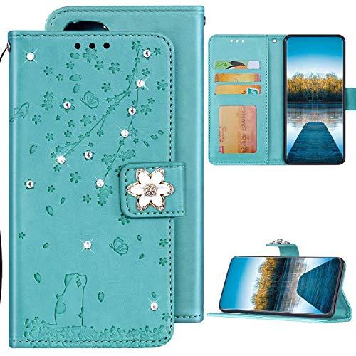Samsung Galaxy A7 2018 Hülle Leder Tasche Flip Case Glitzer Bling Diamant Brieftasche Schutzhülle,Katze Kirschblüten Muster Klapphülle Handyhülle mit Kartenfächer für Galaxy A7 2018,Grün