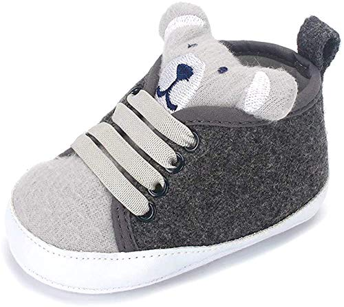 LACOFIA Baby Jungen Sneakers Kleinkind rutschfest Weiche Sohle 3D Tier Krabbelschuhe Grau 6-9 Monate