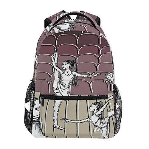 DISLONLY Rucksack Sporttasche Freizeittasche,Tanzen Sie themenorientiertes Bild von flüchtigen Zeichnungs-Ballerinen auf Stadium
