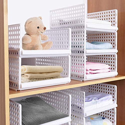 Hossejoy 4 Pack Stackable Wardrobe Storage Organizer Plastic Detachable Shelves Drawers Baskets Divider Boxes for Clothes Dressers Wardrobe Bedroom (Grey)