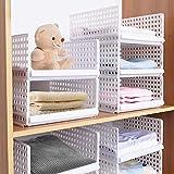 Hossejoy - Set di 4 contenitori impilabili per armadio, in plastica, con ripiani staccabili, cassetti, cassetti, divisori, per vestiti, armadi, camera da letto