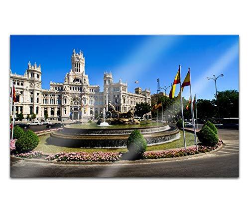 Acrylglasbilder 80x50cm Madrid Spanien Skyline Cibeles Brunnen Acryl Bilder Acrylbild Acrylglas Wand Bild 14H512