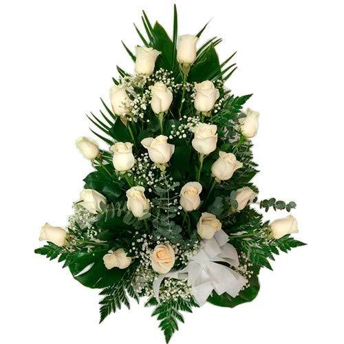 Centro de 12 rosas blancas, presentado en base decorativa. Novedad en Amazon...Elige el día de entrega!, de lunes a sábado en toda la Península. Personaliza tu dedicatoria(sin coste añadido). Haz tu pedido antes de las 18h y recíbelo el día siguiente...