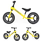 Marcheur 12' Enfants Draisienne Pas Pedal Marche Formation vélo Amovible Carbone Cadre en Acier, 2 Roues Walker Enfants for 2 à 6 Ans Unisexe (Color : Yellow)