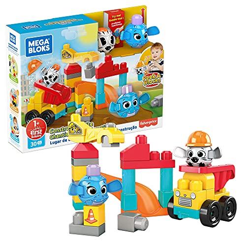 Mega Bloks Sitio de construcción con 2 Peek A Blocks, juego de construcciones para niños con bloques +1 año (Mattel GRV37)