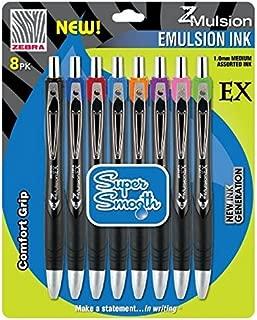 Zebra Z-Mulsion EX Emulsion Retractable Ballpoint Pen, 1.0mm, Assorted, 8-Pack