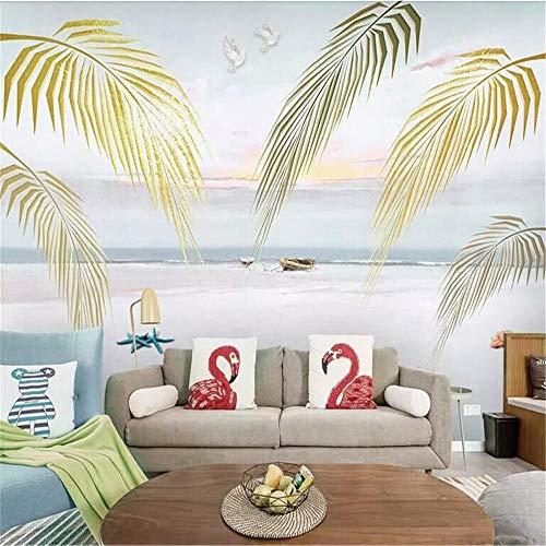 Muurschildering Muur Muralsamerikaanse Europese Scandinavische Mediterrane Frisse Plant Palm Leaf Wall Factory Groothandel Wallpaper Mural Pas foto muur About 250*175cm 2 stripes