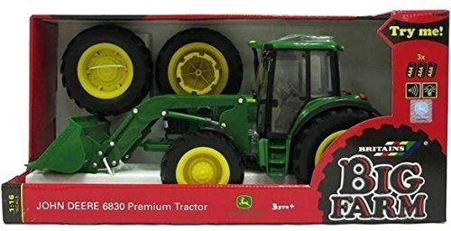 Tomy Britains John Deere 6830 Premium tractor met voorlader, kindertractor met licht- en geluidseffect, voor kinderen vanaf 3 jaar om te spelen en te verzamelen