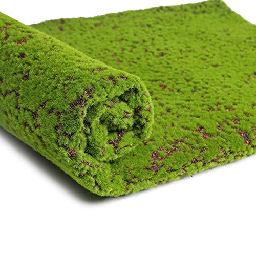 FABSELLER - Alfombra artificial realista de césped artificial verde para decoración de interiores y exteriores, 100 x 100 cm, color verde