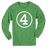 Happy Family Clothing Circle Fourth Birthday Four Long Sleeve 4th Birthday T-Shirt (5/6T, Green Heather)