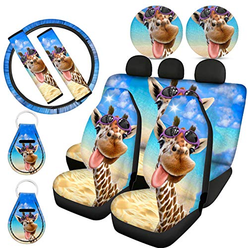 ZFRXIGN Cute Giraffe Seat Cover for Cars with Steering Wheel Cover Seatbelt Pads Keyring Cup Coaster Universal Fit SUV, Truck, Sedan, Vans Full Set of 11 Pcs Funny Animal with Sungalsses