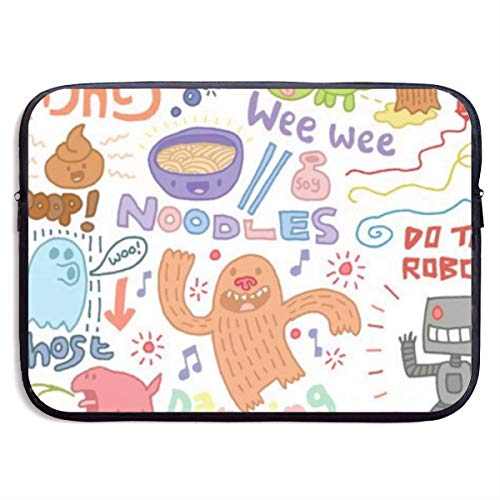 Gao808yuniqi Color Cartoon Pattern Laptop Sleeve Shoulder Bag for Women, Protective Carrying Case Compatible with 13-15 Inch MacBook Pro, Air, Notebook,Slim Sleeve