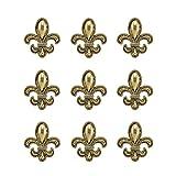 Large Fleur De Lis Decorative Push Pins, 9 Pieces, Antique Gold T-617AG
