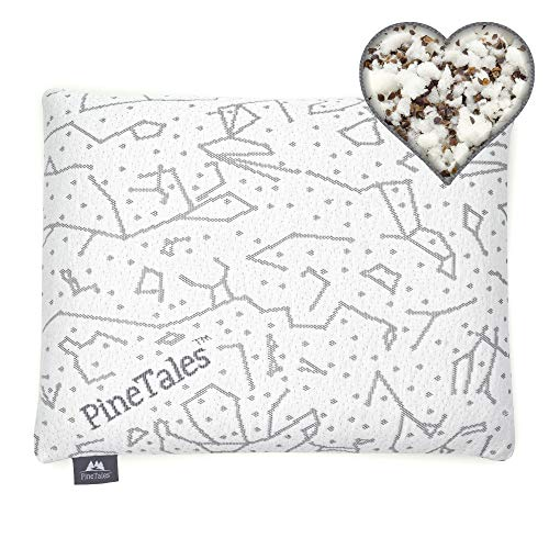PineTales, Hybrid Buckwheat Hulls Pillow with Certipur US Shredded Memory Foam, with Skin Friendly...