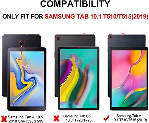 CaseFun Samsung Galaxy Tab A 10.1 2019 Hülle, Leder Flip Schutzhülle Case Tasche Cover Etui für Samsung Tab A 10.1 2019 T510/ T515 mit Standfunktion Puppe