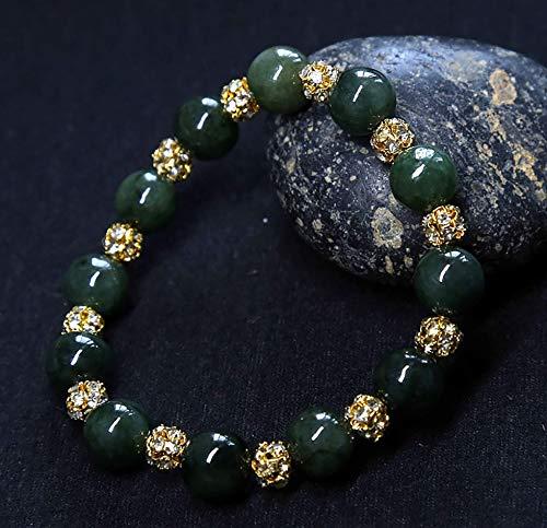 Pulsera de aleación Feng Shui Real Fei Cui Jade Pulsera de riqueza Amuleto Raro Bosque Verde Cuentas de diamantes de imitación Talismán de cristal para limpieza de energía Protección curativa D