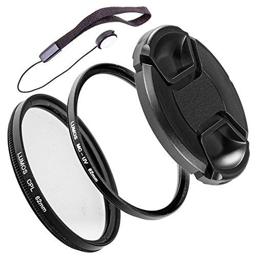 LUMOS PRO Slim Filterset 62mm | Polfilter zirkular MC UV Filter Objektivdeckel | Zubehör Set für Kamera Objektiv Ø 62 mm