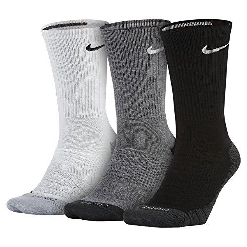 Nike Dry Cushion Crew Training Sock (3 Pairs), Multi-Colour, Size 10.0