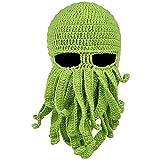 Sombrero de pulpo, de lana para esquí, máscara de punto de barba, pulpo de invierno cálido de punto, disfraz de fiesta para adulto, tentáculo pulpo cthulhu punto gorro - verde - talla única