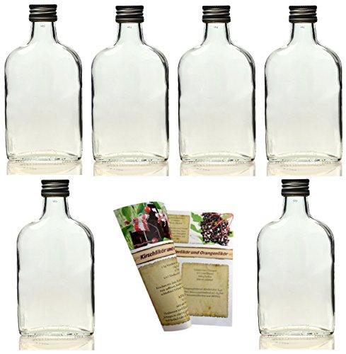 """Gouveo bottiglie di vetro vuote a """"fiaschetta"""", incl. tappo a vite e ricettario [lingua tedesca], da riempire con liquore o grappa., 24 Flaschen je 200 ml"""