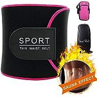 Baozun Cinturón de Sudor, Cinturón Abdominal Cinturón Adelgazante Mujer para Quemar Grasa Estómago y Espalda Soporte Lumbar Cinturón de Sauna de Neopreno Ajustable-45Pulgadas con Brazalete