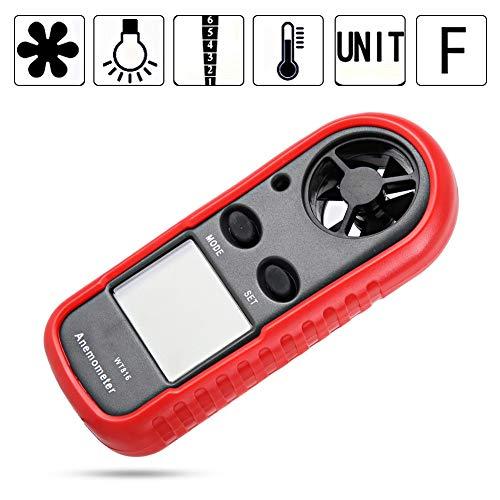 Tonysa Digitales Anemometer, Handheld LCD Wind Speed Meter, 0-30 m/s Windmessgerät Messung Geschwindigkeitsanemometer mit LCD Bildschirm und NTC Thermometer für industriellen Gebrauch