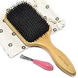 BESTOOL Hair Brush, Boar Bristle Hair Brushes for Women men Kid, Boar & Nylon Bristle Brush for Wet/Dry Hair Smoothing Massaging Detangling, Everyday Brush Enhance Shine & Health (Square)