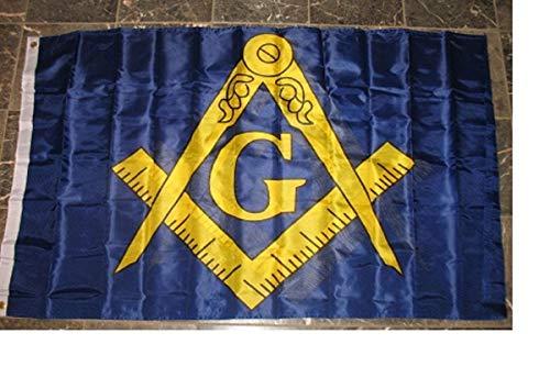 3x5 Double Sided Mason Masonic Blue and Gold Flag 3'x5' Nylon Poly House Banner