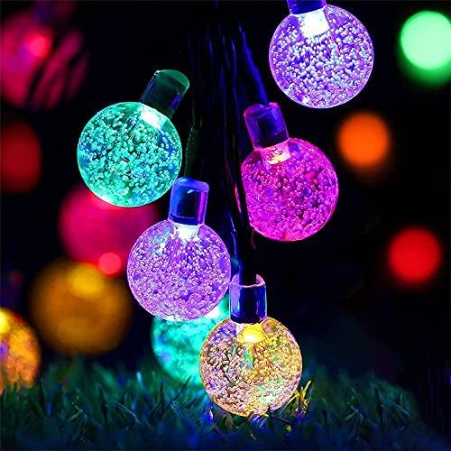 Cadena de luces solares para exteriores, 7 m, 50 bolas de cristal, cadena de luces LED para exteriores, para balcón, jardín, fiestas, multicolor
