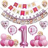 sancuanyi 1er Cumpleaños Bebe Globos Decoracion Cumpleaños 1 Año Bebe Niña (Rosa)