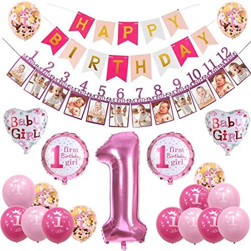 sancuanyi 1. Geburtstag Dekorationen für Mädchen,Deko 1 Geburtstag, erst Geburtstag Deko Mädchen (Pink)