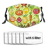 Diversi tipi di frutta e verdura,Filtro riutilizzabile lavabile in polvere e copri bocca riutilizzabile Faccia in antivento con 6 filtri
