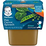 Gerber 2nd Foods Pea, Carrot & Spinach Pureed Baby Food, 4 Ounce Tubs, 2 Count (Pack of 8)