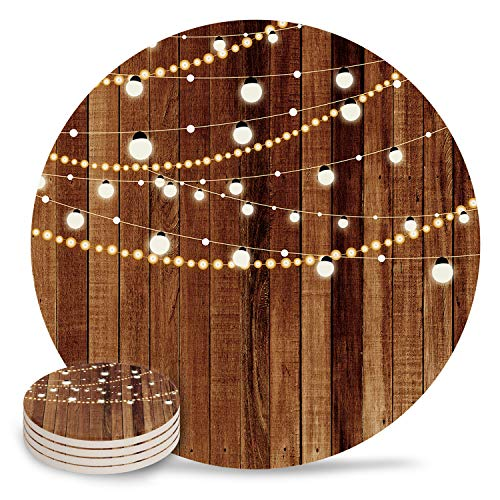 4' Ceramic Coasters For Drinks 4 Pcs Christmas Theme Decoration Lights Vintage Wood Grain Absorbent Cork Backing Coasters for Kitchen Bar Decor Housewarming Gift