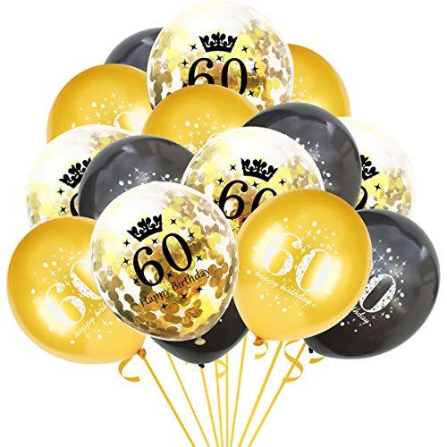 onehous 15 Luftballons, Gold Schwarz mit Gold Konfetti Ballons, für 60 Geburtstag Dekoration, für Party Feier Dekoration, für Geburtstag und Geburtstagsdeko