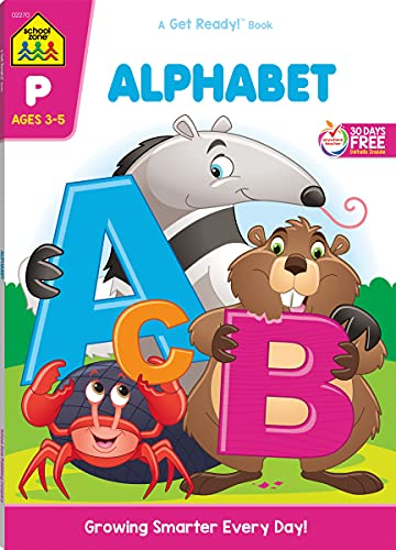School Zone - Alphabet Workbook - 64 Pages, Ages 3 to 5, Preschool, ABC's, Letters, Tracing, Alphabetical Order, and More (School Zone Get Ready!™ Book Series)
