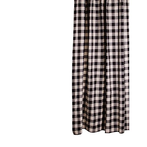 Home Collections by Raghu 72x72, Black and Buttermilk Buffalo Check Shower Curtain